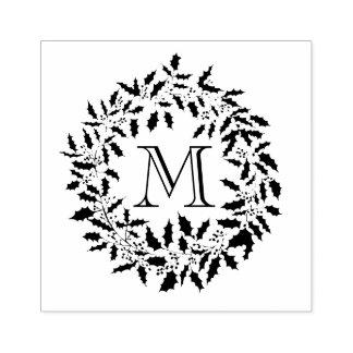 Monogramme de famille de houx de Noël et de