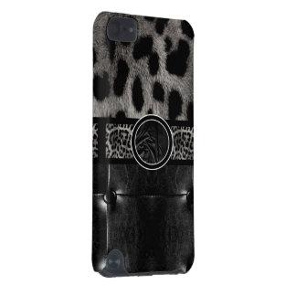Monogramme de fantaisie de cuir de léopard coque iPod touch 5G