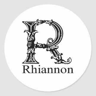 Monogramme de fantaisie : Rhiannon Sticker Rond