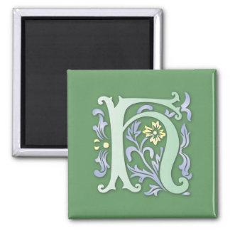 monogramme de Fleur-De-lis H Magnet Carré