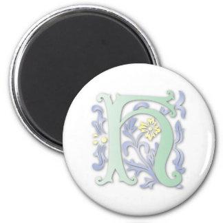 monogramme de Fleur-De-lis H Magnet Rond 8 Cm