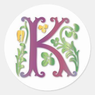 monogramme de Fleur-De-lis K Sticker Rond