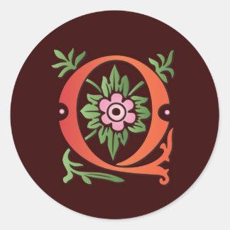 monogramme de Fleur-De-lis Q Sticker Rond
