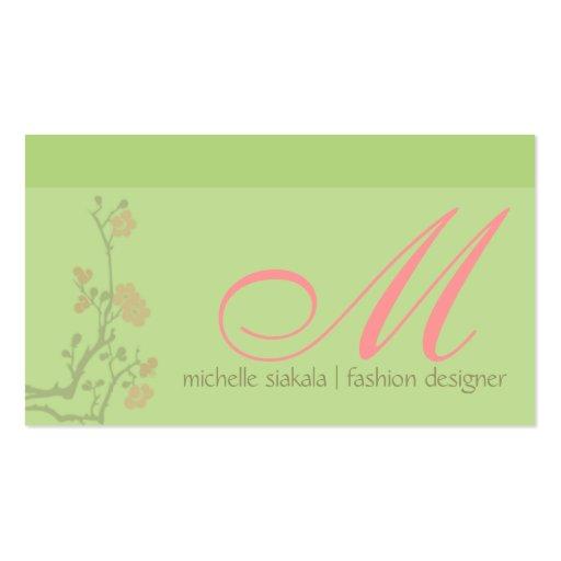 monogramme de fleurs de cerisier modèle de carte de visite