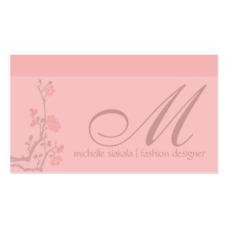 monogramme de fleurs de cerisier carte de visite