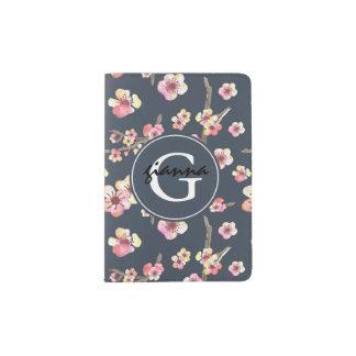Monogramme de fleurs de cerisier de rose de bleu protège-passeports