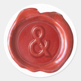 Monogramme de joint de cire - rouge - audacieux et sticker rond