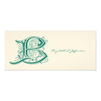 Monogramme de la lettre B d'Aqua de Flourish Carton D'invitation 10,16 Cm X 23,49 Cm