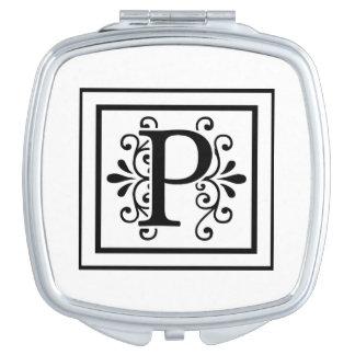 Monogramme de la lettre P Miroirs À Maquillage
