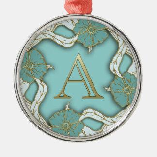 monogramme de l'alphabet A Ornement Rond Argenté
