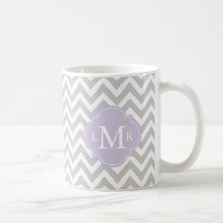 Monogramme de lavande et motif de chevrons mug