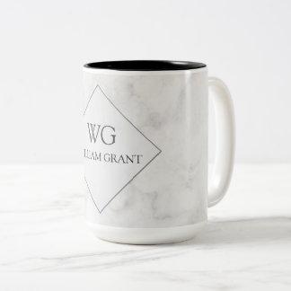 Monogramme de marbre blanc chic minimaliste Luxe Tasse 2 Couleurs