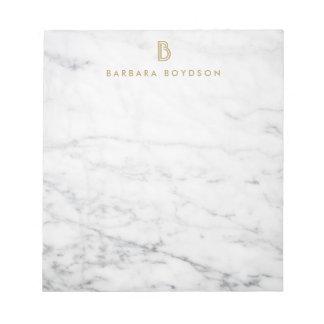 Monogramme de marbre blanc minimaliste d'or bloc-note