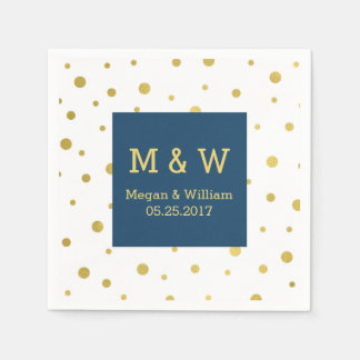Monogramme de mariage de confettis d'or de bleu serviettes jetables