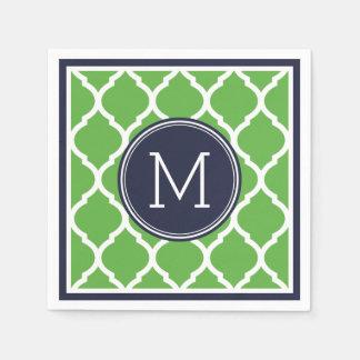 Monogramme de mariage de Quatrefoil de bleu marine Serviette En Papier