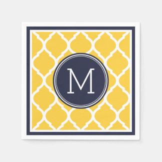 Monogramme de mariage de Quatrefoil de bleu marine Serviette Jetable