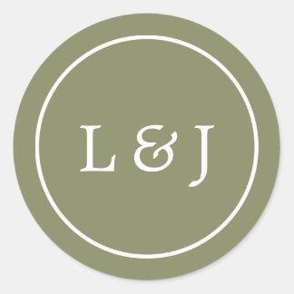 Monogramme de mariage de vert olive et de blanc sticker rond