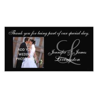 Monogramme de Merci de mariage et photographie de  Cartes De Vœux Avec Photo