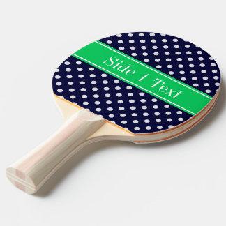 Monogramme de nom de vert vert de point de polka raquette tennis de table