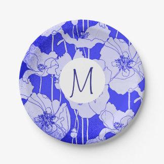 Monogramme de pavots bleus d'art moderne assiettes en papier