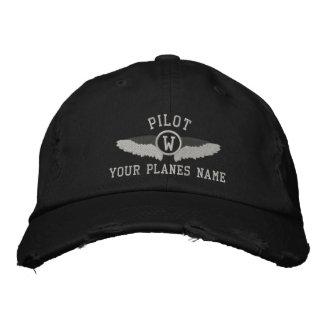 Monogramme de pilotes et nom plat de coutume casquette brodée