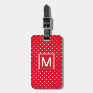 Monogramme de point de polka étiquette à bagage
