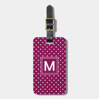 Monogramme de point de polka étiquette pour bagages