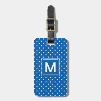 Monogramme de point de polka étiquettes bagages