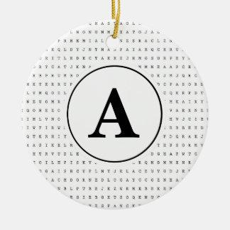 Monogramme de puzzle de recherche de mot ornement rond en céramique