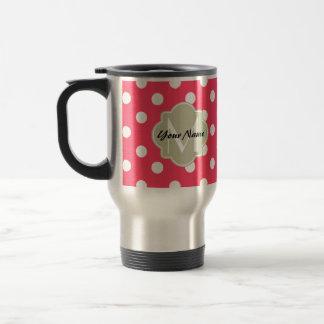 Monogramme de Quatrefoil de pois de rouge indien Mug De Voyage