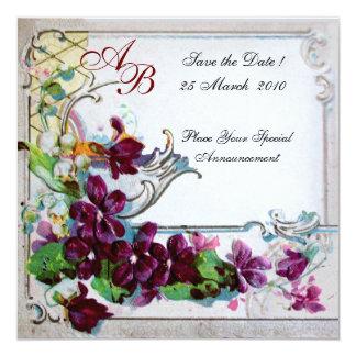 MONOGRAMME DE ROMANTICA 4 CARTON D'INVITATION  13,33 CM