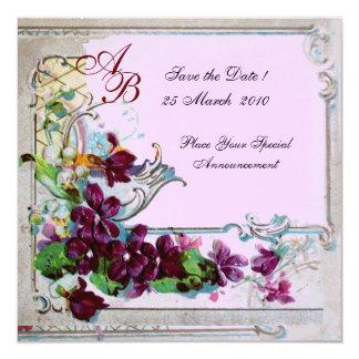 MONOGRAMME de ROMANTICA 4, mariage rose pourpre Carton D'invitation 13,33 Cm