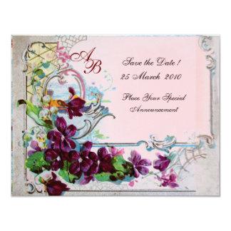 MONOGRAMME de ROMANTICA 4, rose Carton D'invitation 10,79 Cm X 13,97 Cm