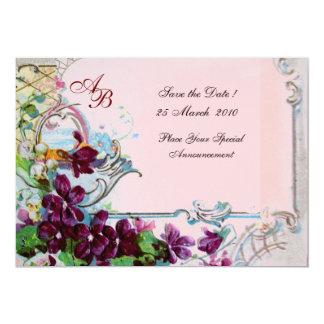 MONOGRAMME de ROMANTICA 4, rose Carton D'invitation 12,7 Cm X 17,78 Cm