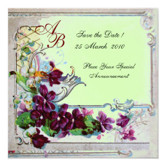 MONOGRAMME de ROMANTICA 4, vert Carton D'invitation 13,33 Cm