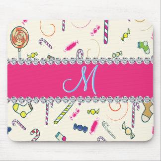 Monogramme de sucre de canne de diamant de roses tapis de souris