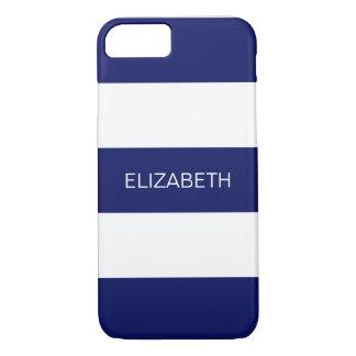 Monogramme de très bon goût blanc de la rayure #3 coque iPhone 7