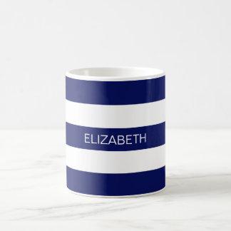 Monogramme de très bon goût blanc de la rayure #3 mug
