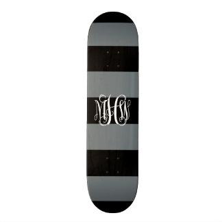Monogramme de vigne de la rayure #3 de noir Horiz Plateaux De Skateboards Customisés