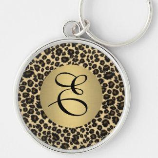 Monogramme d'empreinte de léopard porte-clé rond argenté