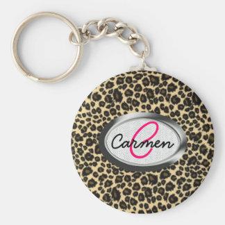 Monogramme d'empreinte de léopard porte-clefs
