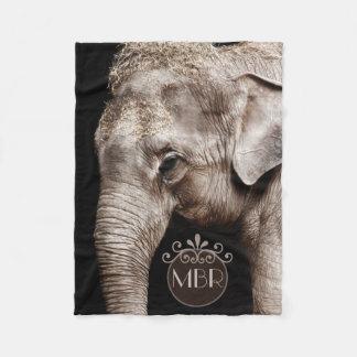 Monogramme d'image de photo d'éléphant couverture polaire