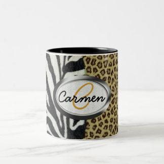Monogramme d'impression de léopard et de zèbre de mug bicolore