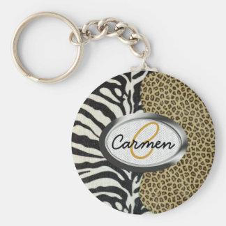 Monogramme d'impression de léopard et de zèbre de  porte-clé rond
