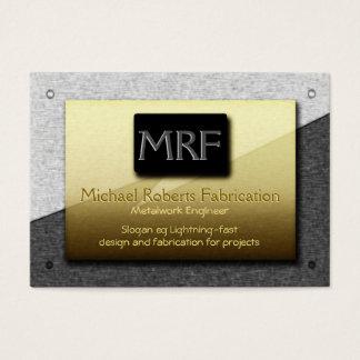 Monogramme d'ingénieur de métal ouvré - or sur cartes de visite