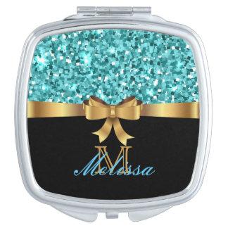 MONOGRAMME D'OR d'ARC turquoise de NOIR de Miroirs De Maquillage