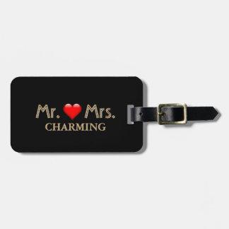 Monogramme d'or de M. et de Mme Honeymoon Red Étiquette À Bagage