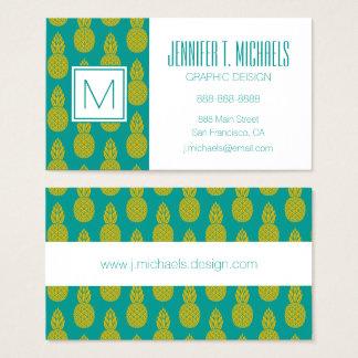 Monogramme du fruit tropical | d'ananas cartes de visite