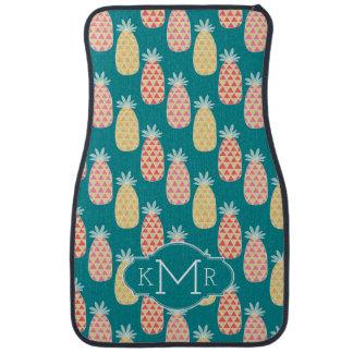 Monogramme du motif   de griffonnage d'ananas tapis de voiture