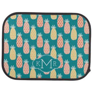 Monogramme du motif | de griffonnage d'ananas tapis de voiture